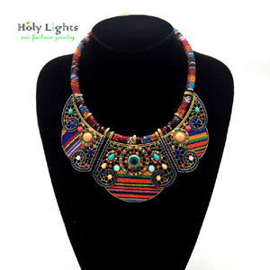 Women bohemia necklace & pendants multicolor statement choker necklace antique tribal ethnic boho jewelry