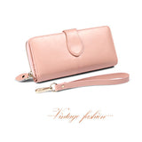 100% Oil Wax Cowhide Leather Women Wallet Phone Pocket Purse Wallet Female Card Holder Lady Clutch