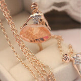 18K Gold Plated Sweater Chain Shiny Crystal Ballet Girl Pendant Necklace Statement Long Necklaces Jewelry For Women