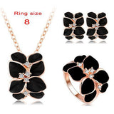 Jewelry Set Rose Gold Plate Austrian Crystal Enamel Earring/Necklace/Ring Flower Set