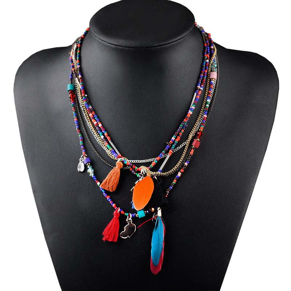 Multi-Color Feather Necklaces & Pendants Beads Chain Statement Necklace Women Ethnic Jewelry