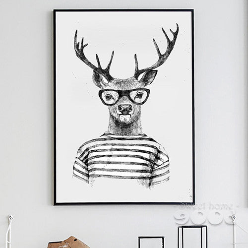 Hand draw Funny Animals Canvas Art Print Poster,  Deer And Polar Bear Set Wall Pictures for Home Decoration, Giclee Wall Decor