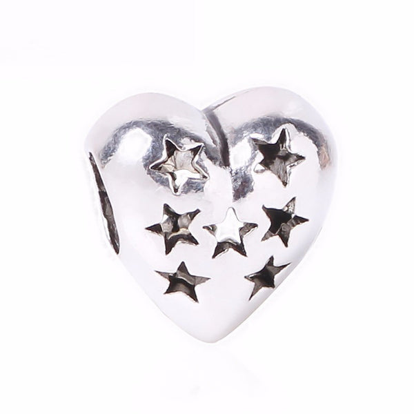 1pc Silver Bead Charm European Love Heart, Clover, Owl, Boy, Paw Family Fashion Beads Fit Pandora Bracelet Necklace