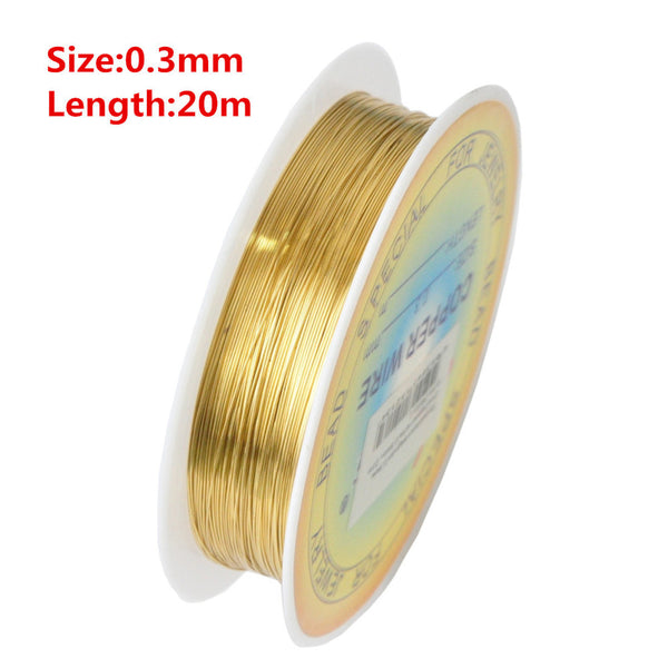 0.25/0.3/0.4/0.5/0.6mm 1 Roll Alloy Cord Silver Gold Plated Craft Beads Rope Copper Wires Beading Wire Jewelry Making