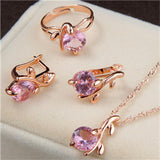 Women bridal Wedding Jewelry Sets Charm Crystal Round Pendant Necklaces Earrings Sets Shiny Zircon  jewerly