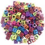 100pcs/lot Handmade Round and Square Colorful  Alphabet Letter Acrylic Beads for DIY Bracelet or Necklace