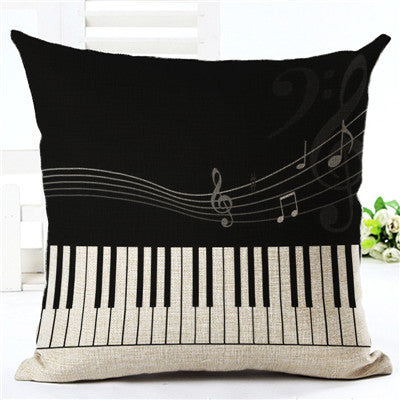 Music Series Note Printed Linen Cotton Square 45x45cm Home Decor Houseware Throw Pillow Cushion