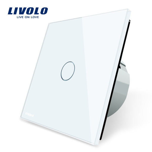 Livolo Luxury White Crystal Glass ,Wall Switch,  Touch Switch,  Normal 1 Gang 1 Way Switch, C701-11/2/5