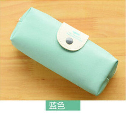 Cute Kawaii Pure Color Leather Pencil Case School Pencil Bag For Girls Korean Stationery
