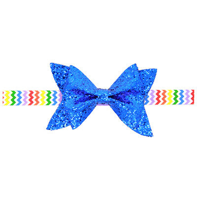 1pcs Cut Baby Shiny Bow Knot Headband Girls Bow Elasticity Hair Band Infant Kids hair accessories