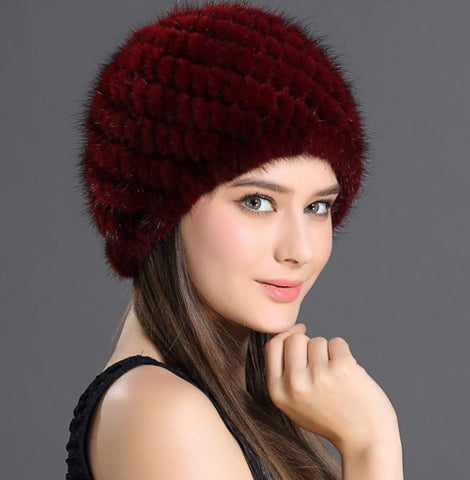 ... Women s Winter Hats With Natural Real Fur Female Cap Mink Fur Real  Knitted Caps Pineapple Hat ... 338c7e6dfd9