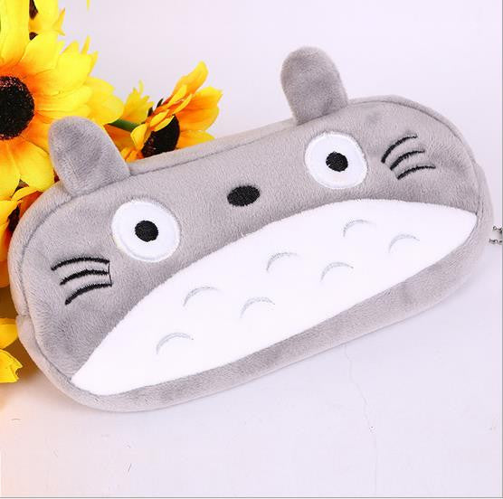 1pcs Kawaii Japan Totoro plush cartoon pen pencil case stationery Large pencil box School Supplie Stationery bag