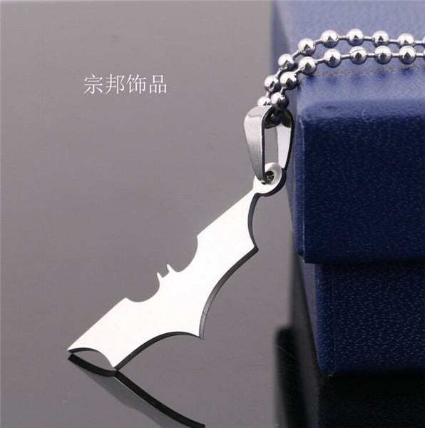 BERTHATINA Fashion Silver chain Men Necklaces Jewelry Slippy Bat Batman Sign Pendant Stainless Steel Pendant with Chain Necklace