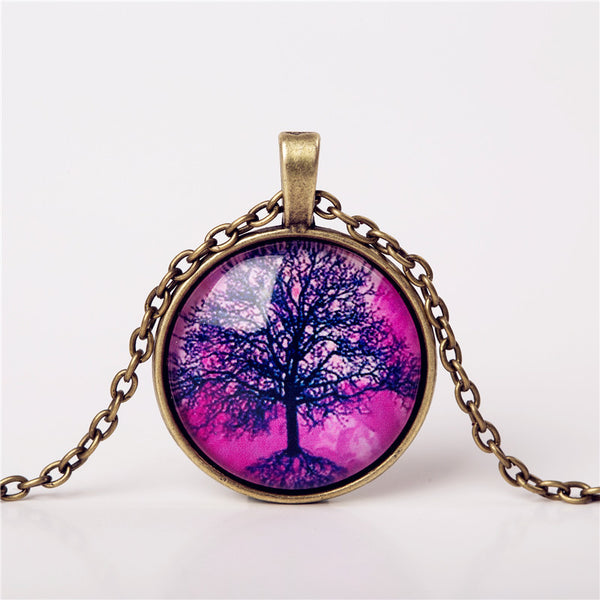 9 Colors Life Tree Pendant Necklace Glass Cabochon Bronze Chain Vintage Choker Statement Necklaces Fashion Women Jewelry