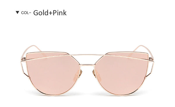 Women Rose Pink Cat Eye Sunglasses Fashion Women Brand Twin-Beams Alloy Frame Mirror Sunglasses For Female UV400