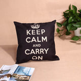 Fashion Vintage Retro Home Decorative Linen Blended Crown Throw Pillow Case Keep Calm Home Decor Personalised Throw Pillowcover 43cmx43cm