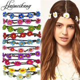 Boho Daisy Hair Bands for Women Hair Accessories New Wreath Headbands Festival Scrunchy Elastic Flower Hair Garland