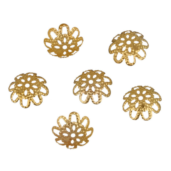 100 pcs/200 pcs/lot High Quality DIY Gold/Silver Plated Hollow Flower Metal Charms Bead Caps for Jewelry Making 10mm