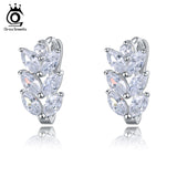 Leaf Style Marquise Cut AAA Austrian Clear Zircon Women Fashion Earring Stud