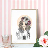 Watercolor Girls Canvas Art Print Poster,  Wall Pictures for Girl Room Decoration, Giclee Wall Decor