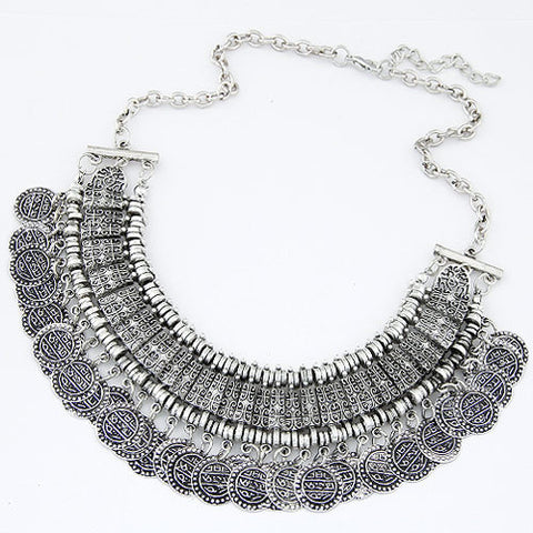 Vintage Maxi Necklaces & Pendants Bohemian Gypsy Coin Necklace for Women Statement Choker Collier Boho Jewelry
