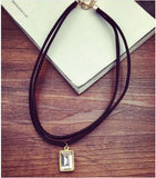 Fashion Multilayer Black Imitation Leather Choker Necklace Gothic Chain Charm Gem Pendant Vintage Style Jewelry