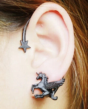 1 pcs Fashion Punk Rock Stereoscopic Running Horse Unicorn Star Lady Stud Earring for left ear