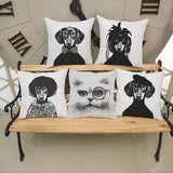Cushion Cover White and Black Dog Dachshund Cotton Linen Cushion Euro Pillow Covers Home Decorative Pillows 18x18 inches