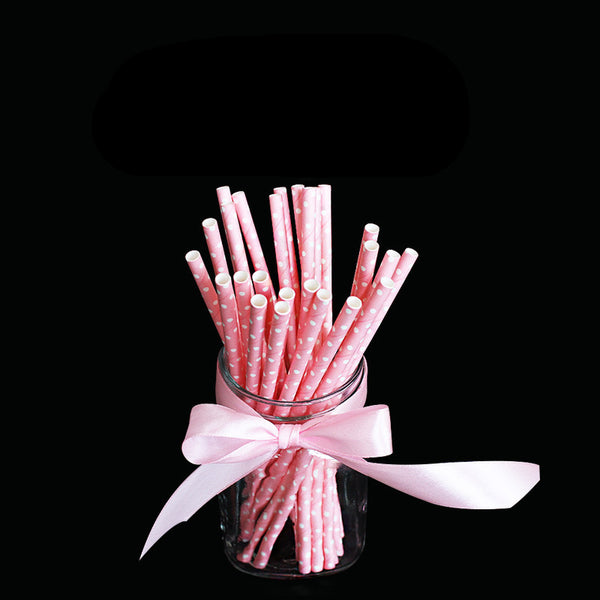 25pcs/lot Pink Point Dot Paper Drinking Straws Drinking Tubes Party Supplies Decoration Baby shower