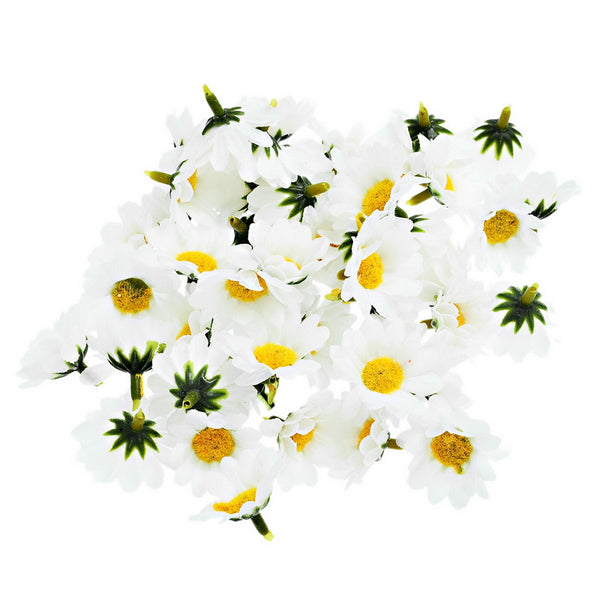100pcs 4cm Artificial Flowers Daisy With Yellow Core Wedding Decoration Simulation Flower Home Decor for Scrapbooking Handicraft