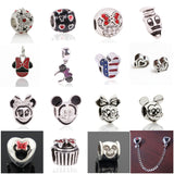 1pcs Big Hole Silver Beads Cute Mickey Charms Fits DIY Pandora Charms Bracelet Jewelry Beads