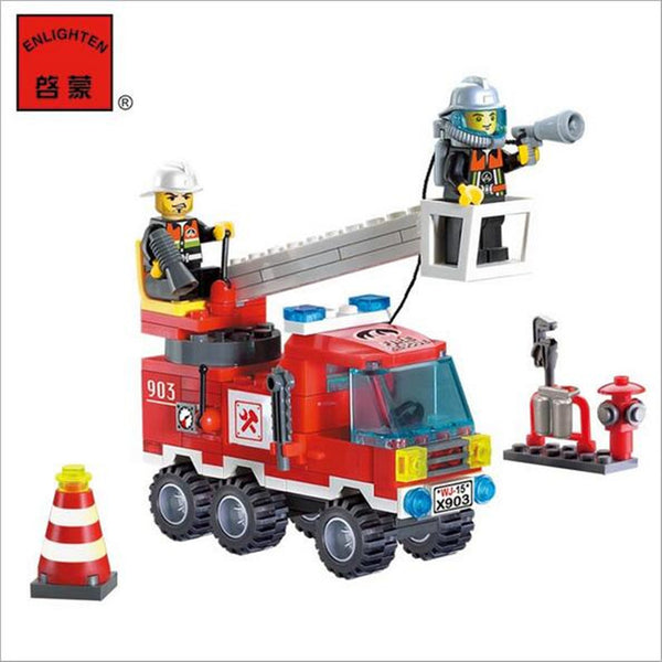 130pcs/set Fire Fighting Truck DIY Building Blocks Toy Children Educational Puzzle