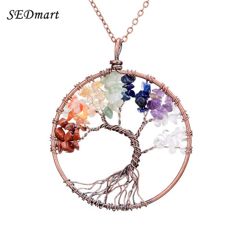 7 Chakra Tree Of Life Pendant Necklace Copper Rose Quartz Turquoise Crystal Natural Stone Womens Necklace