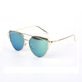 RunBird Cat Eye Sunglasses Women Brand Designer Fashion Twin-Beams Rose Gold Mirror Cateye Sun Glasses For Female UV400