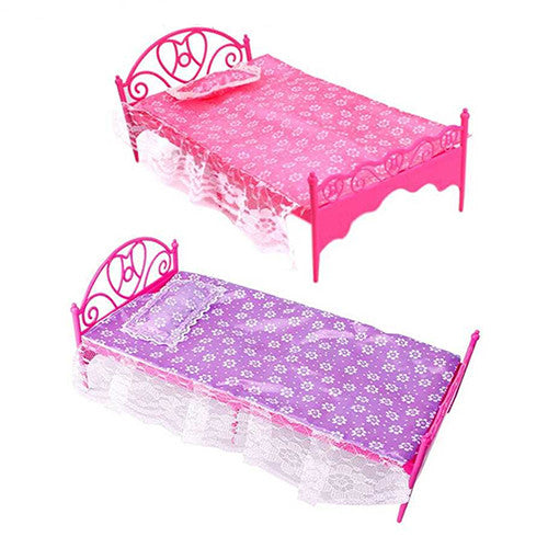 Bluelans Plastic Miniatures Bedroom Furniture Single Bed for Barbie Dolls Dollhouse