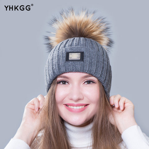 ... Knitted hat fashion Womens big Real Raccoon Fur pom pom Caps Crochet Hats  For Women Winter ... 45e99d7ae