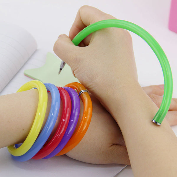 10pcs Flexible Ball Pen Cute Soft Plastic Bangle Bracelet Ballpoint Pens School Office Gifts