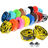 Road Bike Bicycle Handlebar tape Camouflage Cycling Handle Belt Cork Wrap with Bar Plugs  17 Colors