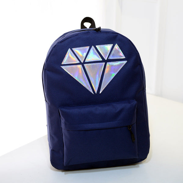 Women Canvas Backpack School Bags Holographic Silver