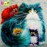 Diy square painting diamond embroidery mosaic animal series cross stitch home decor needlework cat painting