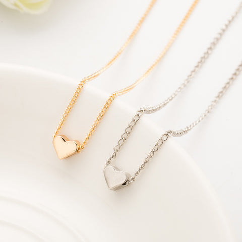 Tiny Heart Short Pendant Necklace Women Gold Plated Chain Lover Lady Necklace