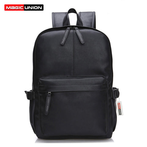MAGIC UNION Oil Wax Leather Backpack For Men Travel Backpacks Western Design Style Leather School Backpack Mochila Zip