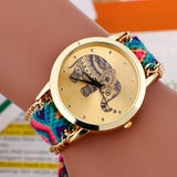 Fashion Bracelet watch Women Braided Elephant Round dial Quartz Watch Clock Female wristwatch