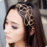 1 PC Fashion Gold Alloy Romantic Olive Branch Leaf Headband For Women Elastic Hair Accessories Jewelry