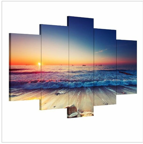 5 Pieces Modern Wall Art Canvas Unframed Modular Sunrise Panel Print Painting Decorative Sunset Seascape Picture Home Decor