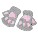 Woman Winter Fluffy Bear/Cat Plush Paw/Claw Glove Novelty soft toweling lady's half covered mittens