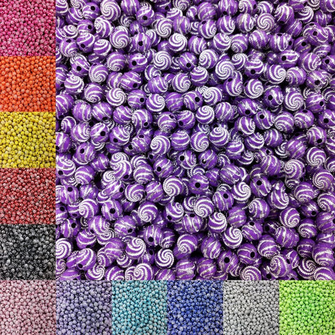8mm 100 piece/lot  Screw Shiny Acrylic Round  Ball Spacer Loose Beads for Bracelet Necklace Jewelry Making