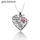 """No longer be my side but forever in my heart"" Pink White Silver Crystal Cats Dogs Paws Claw Print & Heart Necklace"