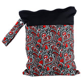 1pc Reusable Waterproof Printed PUL Diaper Wet Bag Double Pocket withCloth Handle