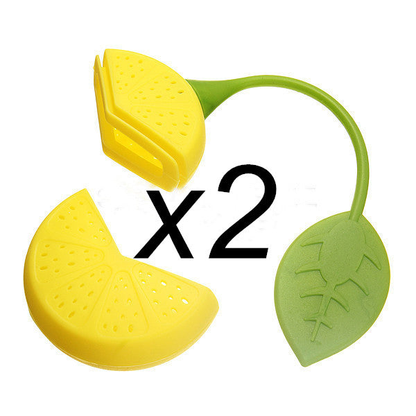 2Pcs Reuseable Foof safe Silicone Yellow Lemon Shape Tea Leaf Bag Holder Tea Coffee Herb Punch Filter Tea Infuser